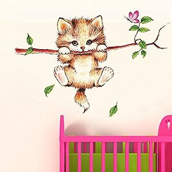 Decals Design 'Little Catty on Branch' Wall Sticker (PVC Vinyl, 60 cm x 45 cm, Multicolour)