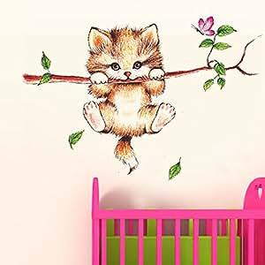 Decals Design 'Little Catty on Branch' Wall Sticker (PVC Vinyl, 60 cm x 45 cm)