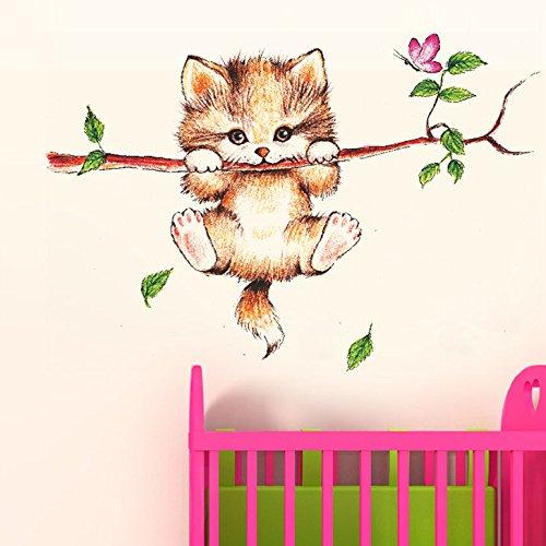 Decals Design 'Little Catty on Branch' Wall Sticker (PVC Vinyl, 60 cm...