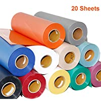 """Warmword Heat Transfer Vinyl HTV,12""""x 10"""" - 20 Sheets for DIY T-Shirt Vinyl Transfer Sheets -Best Iron On HTV Vinyl for Silhouette Cameo, Cricut - or Use with Heat Press Machine Tool,Assorted Colors"""