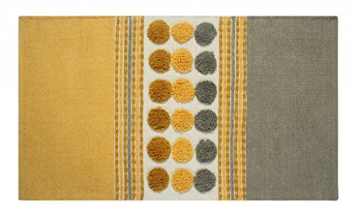 Chenille Teppich grau senfgelb 60 x 100 cm Circles & Stripes Vorleger ()