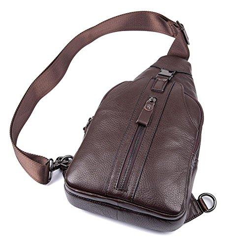 GTUKO JMD Männer Schultertasche Kleine Handyklappe Echtes Leder Sling Bag Männer Messenger Bags Leder Brusttasche Herren Brust Taschen 4007A , Black coffee