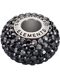 Swarovski® abalorio Becharmed cristal acero inoxidable 14x4,5mm 80101 Jet Hematite