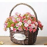 XPHOPOQ Flor Country-Style artificial Hand-Woven Flor Cestas interiorjardín Boda Parte Decoración rojo