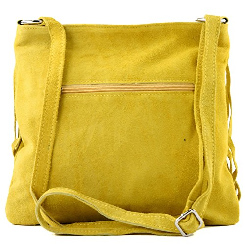 Borsa A Mano Tracolla Shopping Bag Donna In Vera Pelle Italiana T02 Gelb