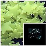 DIY Selbstklebende Leuchtsterne Sterne Sternenhimmel 100 Leuchtsterne Wandtattoo Wanddeko...