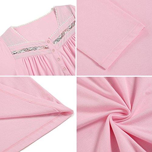 Ekouaer Damen Nachthemd Pastellrosa
