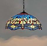 Tiffany Stil Pendelleuchte, 16-Zoll-farbigen Glas Blau und Gelb Dragonfly Art Pendelleuchte, europäischen kreativen Wohnzimmer Schlafzimmer Bar Restaurant Dekoration Kronleuchter Glight