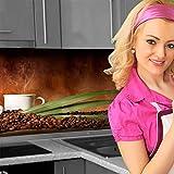 Küchenrückwand < Kaffee Tassen Bohnen > Premium Hart-PVC 0,4 mm selbstklebend 280x60cm
