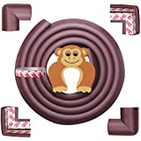AMAZARA Baby Proofing Edge & Corner Guards | 6.5Ft Edge + 4 Pre-Taped Corner Protectors | Child Safety Furniture Cushions | Brown