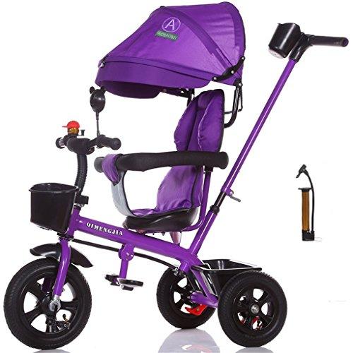 Multifuncional 4-en-1 Edición deportiva Trike Triciclo infantil Carrito para niños con toldo anti-UV y asa para padres para niños de 1-3-6 años Niños y niñas (Vitality Purple Bike) ( Color : B )