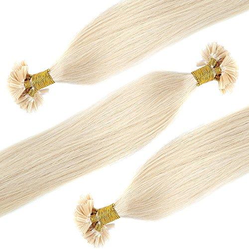 Bonding Extensions Echthaar Remy Haarverlängerung U-Tip 100 Strähnen per Echthaarsträhne 0,5g 55cm(#60 Weißblond)