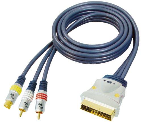 All4u BBVS 7 Videokabel (Scartstecker - 4 polig Hosidenstecker + Audio-Kabel, 2X Cinchstecker, In/Out Schaltbar, verchromter Vollmetallstecker) 3 m blau