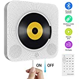 Portable CD Player, Wall Mountable Bluetooth Built-in Hi-Fi Speakers, Home Audio Boombox with Remote Control FM Radio USB MP3 3.5mm Headphone Jack Aux Input / Output with Pull Switch (White)