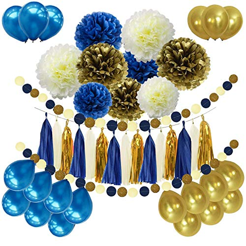 Erosion 46 Stück DIY Marineblau Gold Partydekorationen liefert blau Geburtstag Baby Shower Party Decor Marineblau Gold Creme Papier Pom Poms Ballons Navy Blue Dot Papier Garland Hochzeit, Brautdusche
