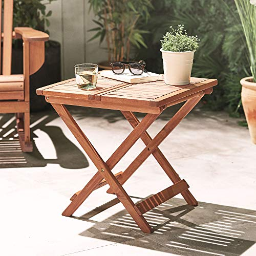 VonHaus Adirondack Side Table | Garden/Patio/Conservatory Wooden Outdoor Folding Side/Snack Table | Ideal for Hardwood Decking