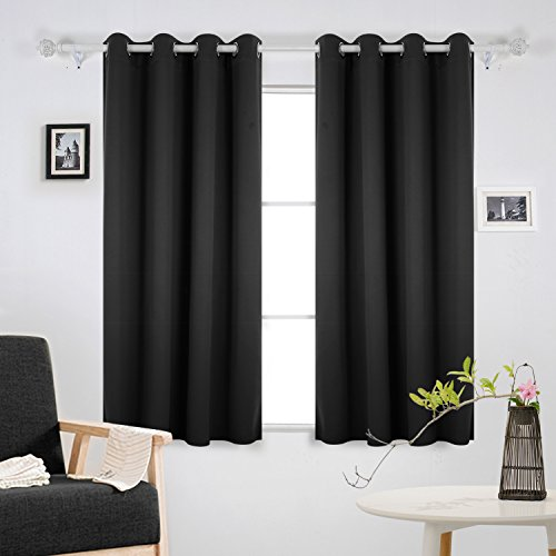 Deconovo Super Soft Thermal Insulated Window Treatment Bedroom Curtains  Blackout Ready Made Eyelet Blackout Curtains For Livingroom With Two  Matching Tie ...