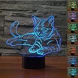 3D gatto illusione lampada luce notturna 7 cambia colore touch interruttore decorazione da tavolo lampade regalo di Natale con base in ABS e acrilico piatto cavo USB e giocattolo per fan basket Lover Lamp