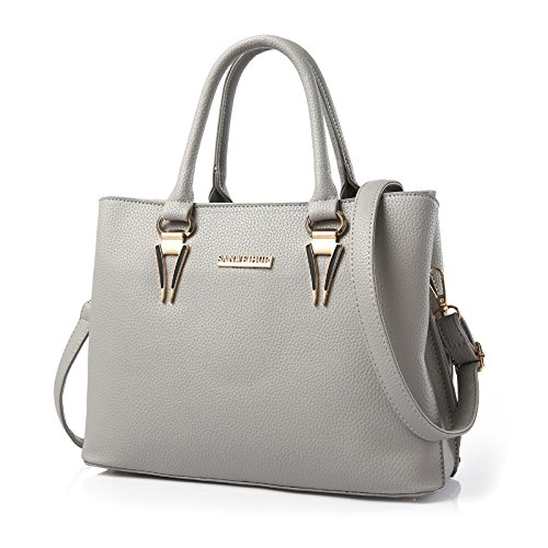 koson-man-womens-new-style-noble-elegance-pu-leather-tote-bags-shoulder-bagsgrey