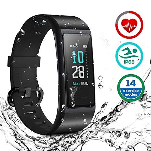 HOMVILLA Fitness Armband, Smartwatch Fitness Tracker Wasserdicht IP68 Aktivitätstracker mit Pulsmesser Schrittzaehler Uhr Stoppuhr Smart Watch Fitness Uhr Schlafmonitor Kalorie für Damen Herren