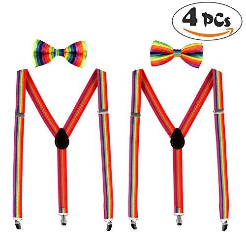 VAMEI Regenbogen Hosenträger Fliege Männer Hosenträger Clip auf Y Form verstellbare Hosenträger Gay Pride Homosexuell Hochzeit Party ()