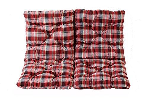 Ambientehome 2er Set Sitzkissen und Rückenkissen Sessel Hanko, kariert rot, ca 50 x 98 x 8 cm, Polsterauflage