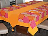 #3: Lushomes Spiral Printed 6 Seater Small Table Linen Set