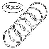 Ofoen Feuille à anneaux, 50pièces en vrac Binders livre Anneaux 25mm Diamètre intérieur Porte-clés Argent
