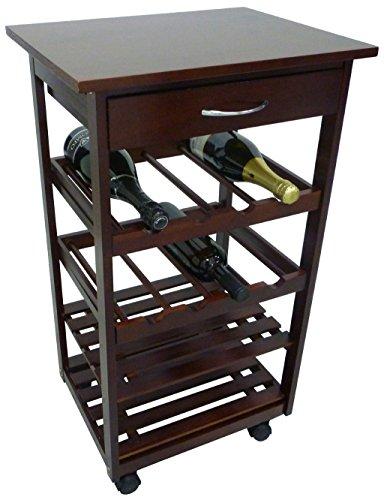Mobiletto porta bottiglie carrello cantinetta da cucina in legno noce marrone con cassetto e ruote autobloccanti