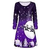 Moonuy Damen Weihnachtskleid, Frauen Mädchen Weihnachten Starts Print Langarm Kleid Damen Abendgesellschaft Knielangen Kleid Hirsch Weihnachtsbaum Dekorative (Lila, S)