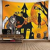 SEWORLD Halloween Mond Kürbis Tapisserie Zimmer Tagesdecke Wand Kunst Hänge Home Decor Grand(E,130x150cm)