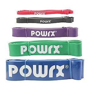 POWRX® Premium Fitnessbänder mit virtuellem Trainingsposter – Klimmzug-Band für Calisthenics Workout – Resistance Band/Widerstandsband Klimmzughilfe in versch. Größen