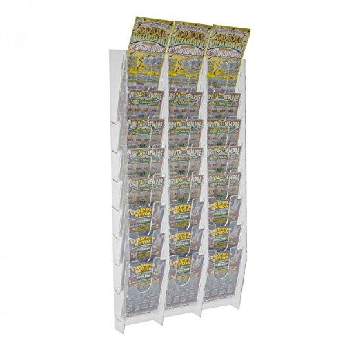 Espositore porta schedine e gratta e vinci da parete in plexiglass trasparente a 24 tasche - misure: 33 x 9 x h69 cm