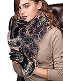 YISEVEN Damen Elegant Lammfelll Lederhandschuhe Kaninchenfell Touchscreen mit Warm Gefüttert Elegant Winter Leder Autofahrer Handschuhe, Schwarz 7.0/M