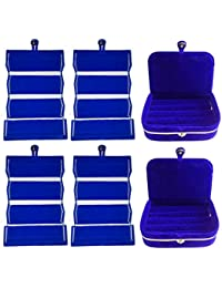 Afrose Combo 4 Pc Blue Earring Folder And 2 Pc Blue Ear Ring Box Jewelry Vanity Box