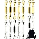 Frienda 14 Stücke Magnetverschluss Karabinerverschluss Magnetische Schmuckverschlüsse mit Aufbewahrungstasche für Schmuck Halskette Armband, Silber und Gold