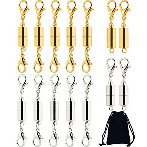 Frienda 14 Stücke Magnetverschluss Karabinerverschluss Magnetische Schmuckverschlüsse mit Aufbewahrungstasche für Schmuck Halskette Armband, Silber und Gold (Armband Gold-halskette Und)