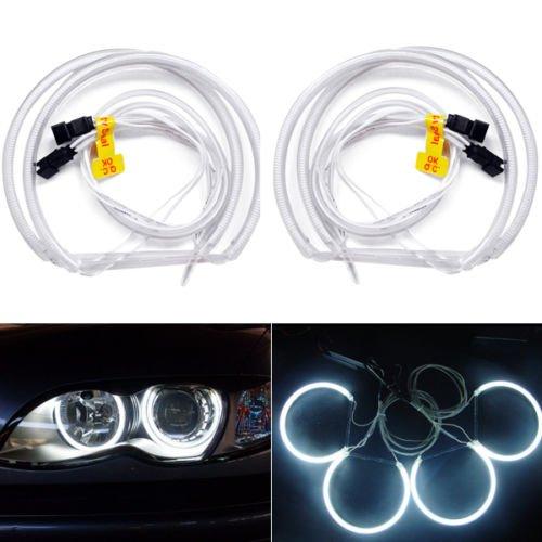 hongfei Auto CCFL Angel Eye Halo Ringe Licht Scheinwerfer Lampensätze Kitsfor E36 3 E38 7 E39 5 E46 3er Kaltkathode DC 12V Weiß - Für Halo-licht Autos