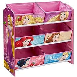 Disney Pincess 866361 Meuble de Rangement pour Chambre d'Enfant avec 6 bacs, Bois, Multicolore, New