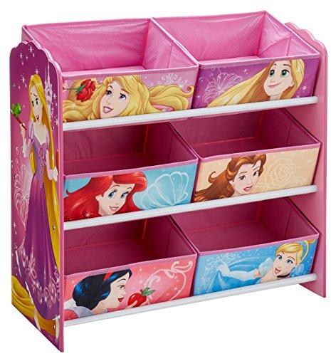 Disney Princess Disney Prinzessin - Regal zur Spielzeugaufbewahrung mit sechs Kisten für Kinder, Holz, pink, 30 x 64 x 60 cm (Tiana Spiele Prinzessin)