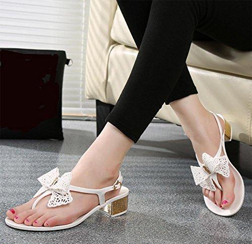 Sommer Hang mit hochhackigen Sandalen hohle Schnalle Sandalen Frauen mit dicken Sohlen in den Schuhen White