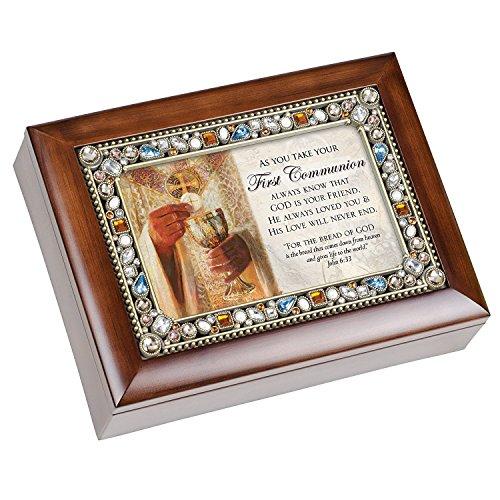 First Communion Walnussholz Finish Edelsteinbesetztes Deckel Jewelry Musik Box spielt Tune Ave Maria (Kirche Boy Kostüm)