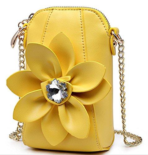 HYLM Damen Mini Taschen Handy Taschen Ketten Strass Blumen Schultertasche / Messenger Münze Geldbörse Yellow