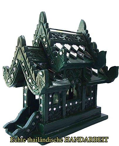 Wochentag Geburtstag Geisterhaus, Material Teak, Farbe Grün für Mittwoch geborene, ca. 27 cm hoch, Neu und Original aus Chiang Mai
