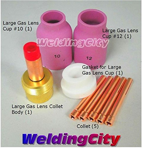 Cup Gasket Kit (WeldingCity Large Gas Lens Accessory Kit 3/32 Cup-Collet-Large Gas Lens-Gasket TIG Welding Torch 17/18/26 TAK18 by WeldingCity)