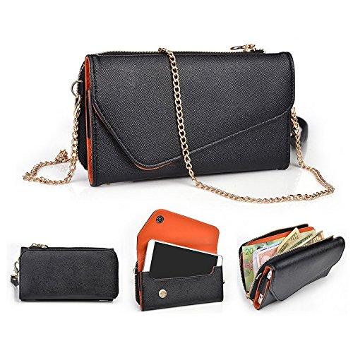 Kroo d'embrayage portefeuille avec dragonne et sangle bandoulière pour Samsung Galaxy A7 Black and Orange Black and Orange