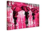 CANVAS IT UP Landschaft 3Leinwandbild Pink Regenschirme von Leonid Afremov Art Wand Bilder gerahmt Drucke Home Deco Poster Größe: 76,2x 50,8cm (76x 50cm)