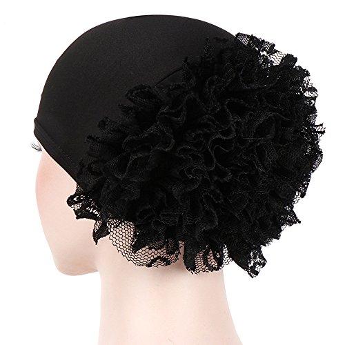 Damen Muslem Kopftuch Kappe Stretch Turban Hut mit Blumen Islamischen Stirnband Mütze Frauen Elastisches Slouch Beanie Chemotherapie Krebs Kopf Schal Hut (Schwarz)