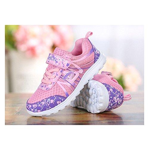 Mädchen Kinder Freizeitschuhe Mesh Atmungsaktives Lauflern Schuhe Blumen Sportlich Schnüren Klettverschluss Sommer Sneaker Violett01 cPBzBZjQFn