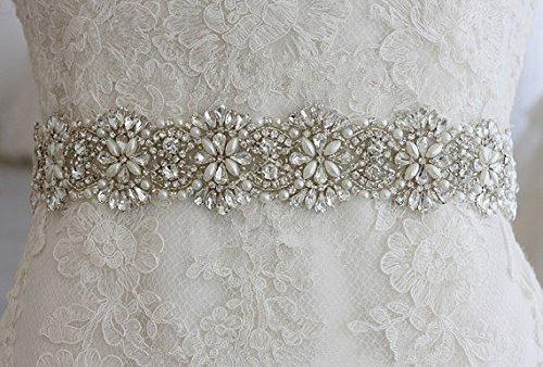 shinybeauty Hochzeit Strass Applikation, Kristall Braut Band Aufnäher, Ra278, 39.0cmx8.0cm (Hochzeit Kleid Schärpe-gürtel Ivory)